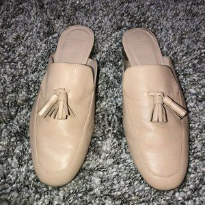 Cole Haan Tillary Leather Froth Beige Tassel Mules